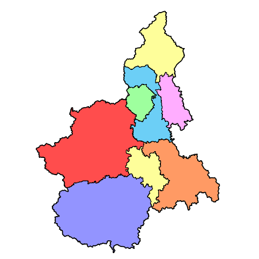 Cartina politica del Piemonte.